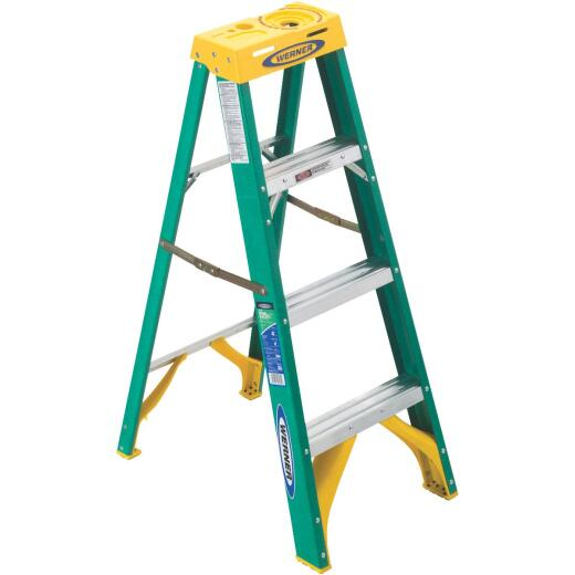 Werner 4 Ft. Fiberglass Step Ladder with 225 Lb. Load Capacity Type II Ladder Rating