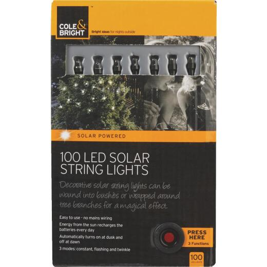 Cole & Bright 36 Ft. 100-Light White Bulb Solar String Lights